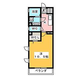 愛知県岡崎市材木町1丁目の賃貸アパートの間取り