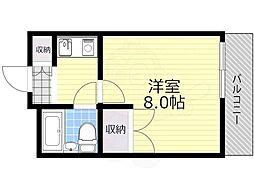 北大阪急行電鉄 緑地公園駅 徒歩12分の賃貸マンション 2階1Kの間取り