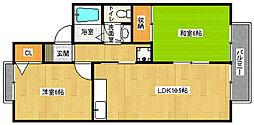 京都府京都市西京区松室荒堀町の賃貸アパートの間取り