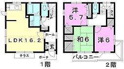 [一戸建] 愛媛県松山市上市2丁目 の賃貸【愛媛県 / 松山市】の間取り