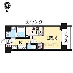 叡山電鉄叡山本線 茶山駅 徒歩3分の賃貸マンション 1階1LDKの間取り