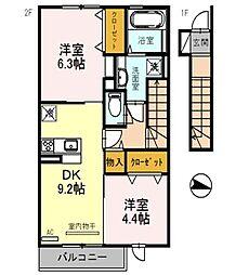 兵庫県三木市福井1丁目の賃貸アパートの間取り