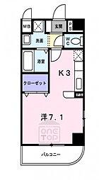 おおさか東線 放出駅 徒歩2分の賃貸マンション 3階ワンルームの間取り