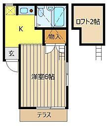 埼玉県川越市清水町の賃貸アパートの間取り