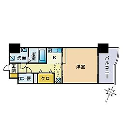 福岡県福岡市中央区渡辺通5の賃貸マンションの間取り
