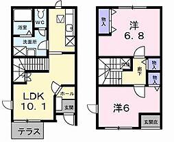 長野県長野市豊野町蟹沢の賃貸アパートの間取り