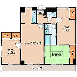 仙台市営南北線 五橋駅 徒歩1分の賃貸マンション 9階3LDKの間取り