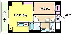 阪神本線 魚崎駅 徒歩5分の賃貸マンション 4階1LDKの間取り