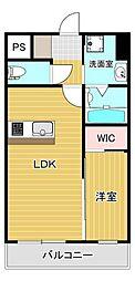 セントラルタワー大川 7階1LDKの間取り