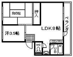シティハイツ岸和田[7号室]の間取り