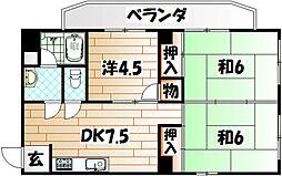 福岡県北九州市戸畑区浅生1丁目の賃貸マンションの間取り