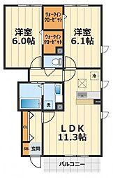 神奈川県大和市大和南2丁目の賃貸アパートの間取り