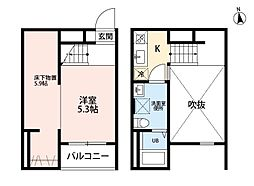 名鉄瀬戸線 守山自衛隊前駅 徒歩5分の賃貸アパート 2階1SKの間取り