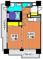 CORAL KOTOBUKI 踞尾 2階1LDKの間取り