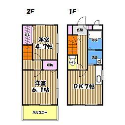 東京都あきる野市下代継の賃貸マンションの間取り