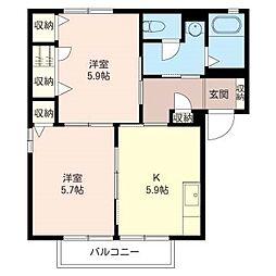 サニーコートダイドーA[2階]の間取り