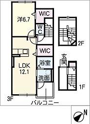仮)新栄町3丁目アパート 3階1SLDKの間取り
