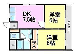 兵庫県尼崎市久々知西町1丁目の賃貸マンションの間取り