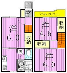 [テラスハウス] 千葉県松戸市稔台 の賃貸【千葉県 / 松戸市】の間取り