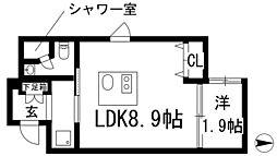 ステーションスクエアさくら通り 1階1LDKの間取り
