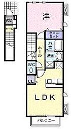 リヴェール南片江 2階1LDKの間取り
