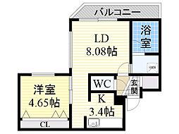 札幌市営東西線 宮の沢駅 徒歩3分の賃貸マンション 4階1LDKの間取り