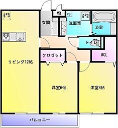 大阪府八尾市二俣2丁目の賃貸アパートの間取り