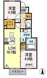 福岡県中間市長津1の賃貸アパートの間取り