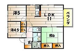 カサブランカパートIIA棟[2階]の間取り
