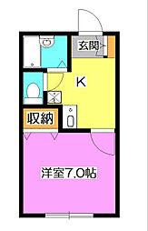 埼玉県所沢市狭山ケ丘2丁目の賃貸アパートの間取り