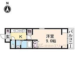 京都市営烏丸線 今出川駅 徒歩9分の賃貸マンション 2階1Kの間取り
