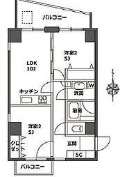 東京メトロ日比谷線 広尾駅 徒歩12分の賃貸マンション 6階2LDKの間取り