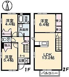 広島県福山市王子町2丁目の賃貸アパートの間取り