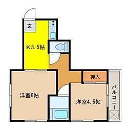 愛媛県松山市祝谷町1丁目の賃貸マンションの間取り