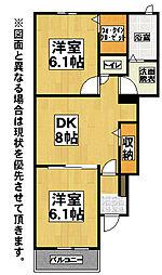 福岡県北九州市八幡西区真名子2丁目の賃貸アパートの間取り