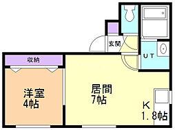 メイプルメゾン創成川公園 2階1LDKの間取り