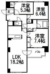 北海道札幌市白石区菊水七条4丁目の賃貸マンションの間取り