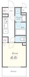 名古屋市営東山線 亀島駅 徒歩4分の賃貸アパート 3階1Kの間取り