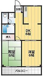 イトーピア西田辺 2階2DKの間取り
