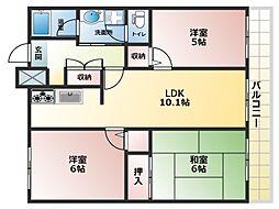 清川六番館[5階]の間取り