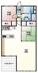烏山南住宅[9階]の間取り