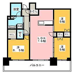プラウドタワー武蔵小金井クロス 21階3LDKの間取り