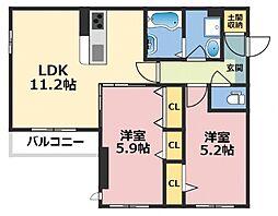 (仮称)東大阪市シャーメゾン上小阪3丁目[301号室号室]の間取り