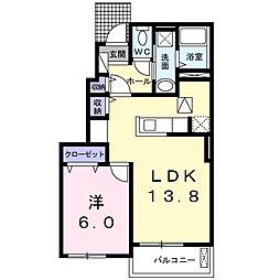 メゾン NTT 1階1LDKの間取り