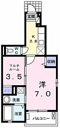 JR豊肥本線 東海学園前駅 バス10分 東八反田下車 徒歩5分の賃貸アパート 1階1Kの間取り