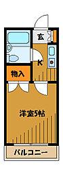 東京都国分寺市北町1丁目の賃貸マンションの間取り