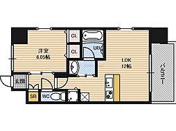 Osaka Metro谷町線 野江内代駅 徒歩5分の賃貸マンション 7階1LDKの間取り