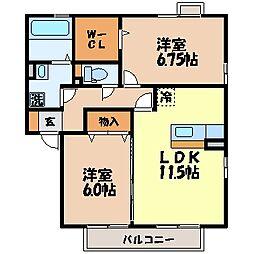 リベルタNAKAZATO A棟[102号室]の間取り