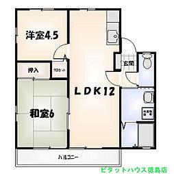 レトア三軒屋[101号室]の間取り