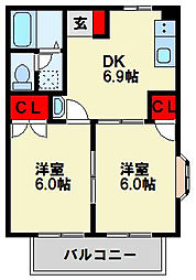 ニューシティ田原[201号室]の間取り